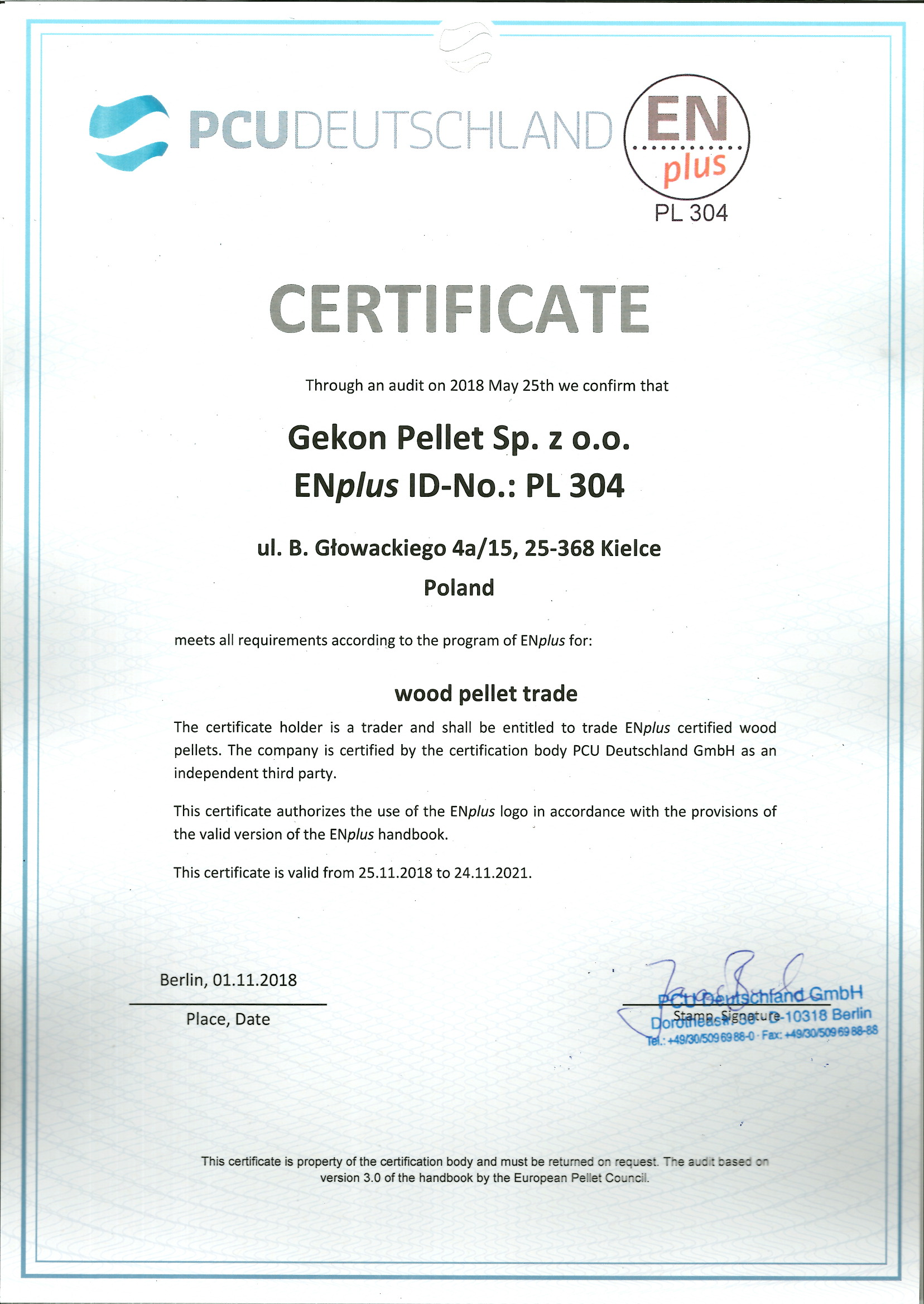 Gekon Pellet - certyfikat